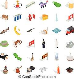 World culture icons set, isometric style