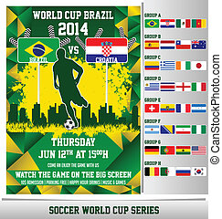 World Cup 2014 flyer template, inspired with soccer theme, soccer ball pattern, and world cup theme. All the country participant flags are included, and organized into official groups.