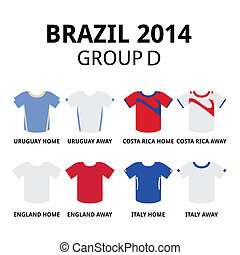 Soccer jerseys set for Uruguay, Costa Rica, England and Italy