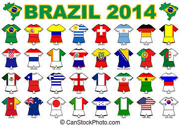 A collection of kit shaped flags of all of the national soccer teams competing at the 2014 football finals in Brazil.