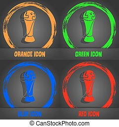 World cup icon. Fashionable modern style. In the orange, green, blue, red design. Vector