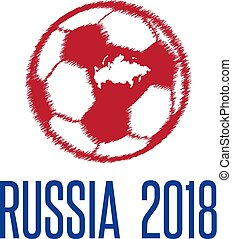 World Cup in Russia 2018 vector illustration with ball and map