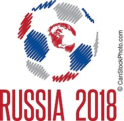 World Cup in Russia 2018 vector illustration with ball