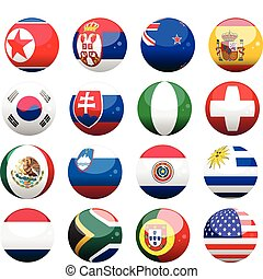 a selection of 16 world cup nation flags as spheres
