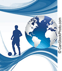 world cup vector - footballer stood with globe and abstract...