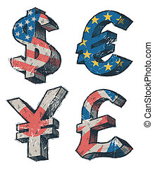 World currencies signs - vector hand drawn illustration