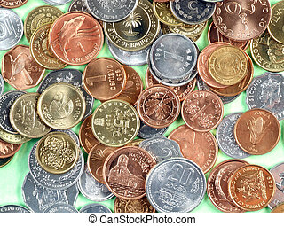 Coins of many currencies, mostly uncirculated. Different metals.