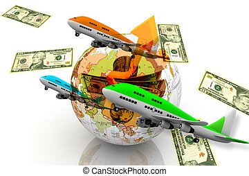 World currency - Air plane flying over the world currency