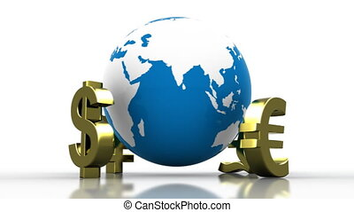 World Currency - Major world currency symbols spinning...