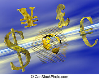 World currency. - Money transfers over the net, dollar, yen,...
