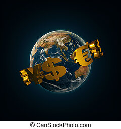 World currency signs around the earth
