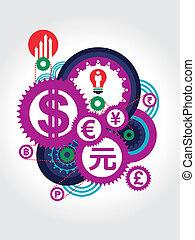 World Currency symbol concept Illustration
