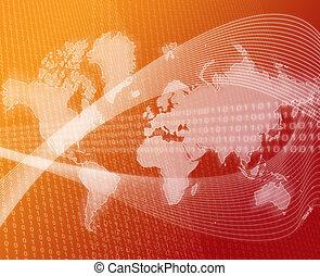 World data transfer orange - Data transfer over a map of the...