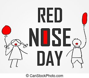 World day of red nose. Doodles for children with colored balloons. red nose clown