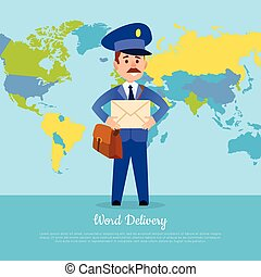 World Delivery Banner with Postman. Mailman in Suit