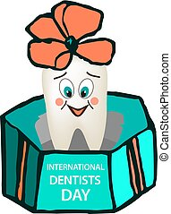 World Dental Day. International Dentist Day. A tooth with a smile on his face jumps out of a gift box with a bow on his head. Cartoon style. Vector illustration on isolated background.