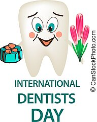 World Dental Day. International Dentist Day. Tooth with a smile on his face with a gift and a bouquet in his hands. Cartoon style. Vector illustration on isolated background.