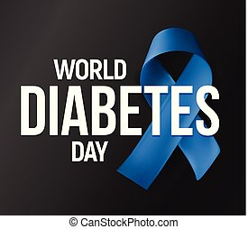 World Diabetes Day vector banner. Blue ribbon vector icon with text on dark background. Two or first type Diabetes mellitus symbol. DM vector illustration.