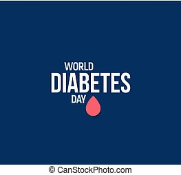 World Diabetes Day vector illustration. Mellitus diabetes symbol. Red blood drop, awareness illness logo template. Abstract medical sign, health care banner.