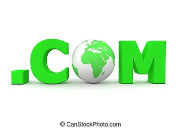 World Dot Com Green - 3D globe with word dot com in green -...