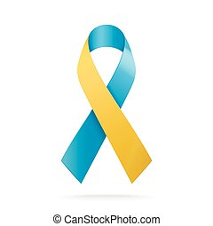 World Down Syndrome Day. Blue and yellow ribbon symbol isolated on white background. Vector illustration