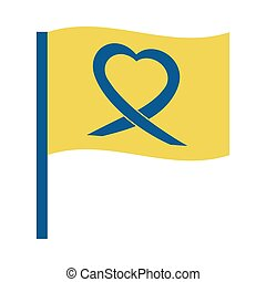 world down syndrome day, flag with ribbon heart symbol flat style