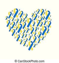 World down syndrome day yellow blue ribbon. Vector yellow...