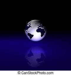 World - Globe on abstract black/blue background.
