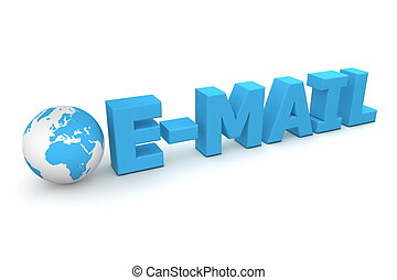 World E-Mail - 3D globe with word E-Mail in blue