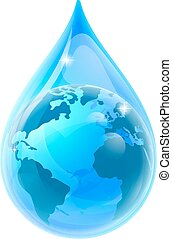 World Earth Globe Water Drop Droplet
