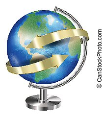 World earth planet globe with gold arrow