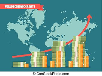 World economic growth infographic. Vector illustration