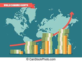 World economic growth infographic. Vector illustration