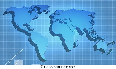 World economic recovery and growth - 3D world map with...