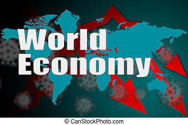 World economy down with Covid-19 crisis concept
