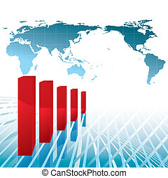 world economy recession chart vector illustration - base map...