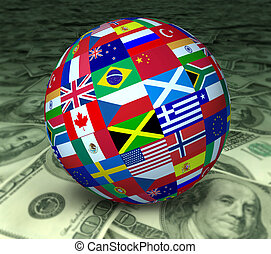 World economy symbol represented by a global sphere with international flags sitting on a floor of currency.