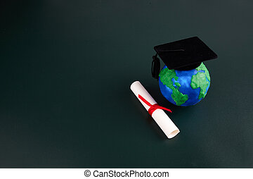 World education concept. Education knowledge day. Science concept. Green board background