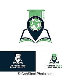 World education gps vector logo design.