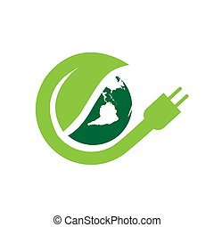 world electricity green energy logo vector illustrations