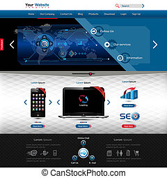 website template for product presentation, contains textured forms and high detailed elements