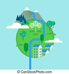 World environment concept with green landscapes