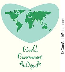 World Environment Day. A blue heart with green continents of the planet on a white background.