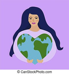 World Environment Day and Earth Day, girl holding a heart shaped planet. Protecting nature ecology concept. Vector illustration