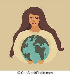 World Environment Day and Earth Day, girl holding planet. Protecting nature ecology concept. Vector illustration
