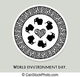 World environment day and world elephant day. Vector stickers, emblems, logo. Round mandala with elephant