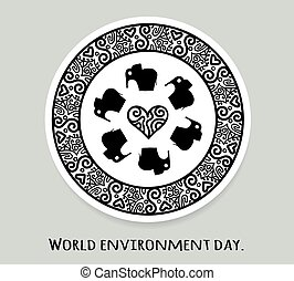 World environment day and world elephant day. Vector stickers, emblems, logo. Round mandala with elephant