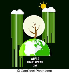 World environment day concept. Green Eco Earth. Vector illustration