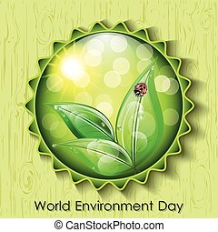 World environment day sign on green background.