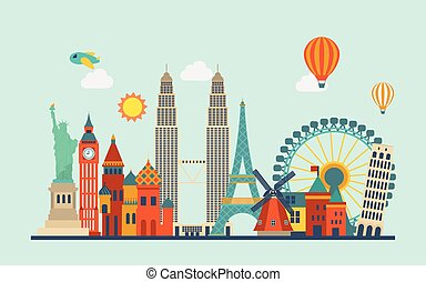 world famous attractions in flat design style